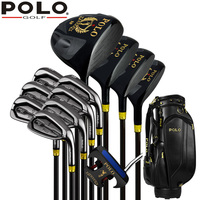 Best Authentic POLO GOLF Cue Kit GOLF Titanium Wood Driver Stainless Steel 12Clubs Set Complete Men 12Covers PU Standard Bag