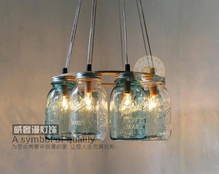 1 Piece New Modern Blue Clear Mason Jar Pendant Light Gl Bottle Hanging Lamp Shade Art Deco Decoration In Lights From