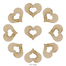 100pcs Blank Mini Hollow Wooden Heart Embellishments Crafts Wedding Decor 10mm(China)