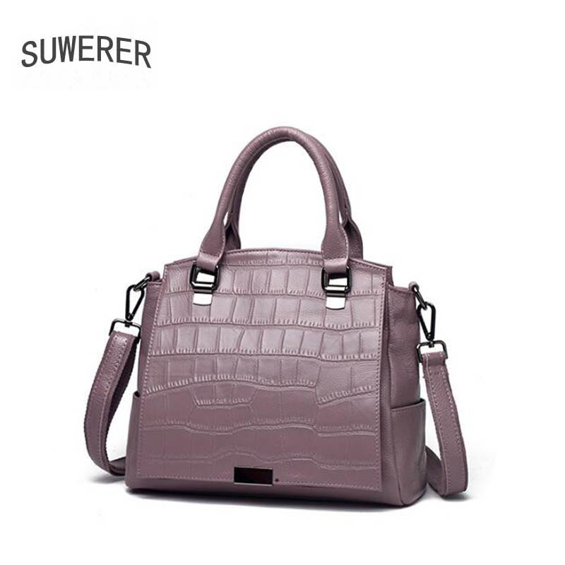 SUWERER 2019 New women Genuine Leather bag fashion Crocodile pattern Luxury women famous brand tote women leather shoulder bagSUWERER 2019 New women Genuine Leather bag fashion Crocodile pattern Luxury women famous brand tote women leather shoulder bag