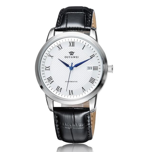 449f6535e08 OUYAWEI Relógio Automático dos homens de Confiança 316L Caixa de Aço  Inoxidável com Pulseira de Couro