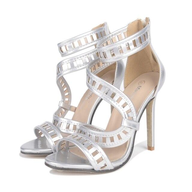bafe27d9 Popular europea y Americana sexy zapatos Romanos zapatos de Fiesta  Perforada de Alta moda sandalias de