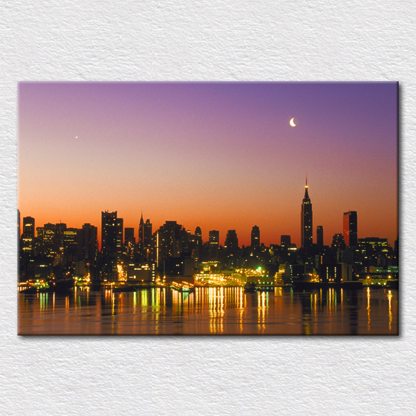 buy canvas prints city light view paintings the cityscape painting of new york. Black Bedroom Furniture Sets. Home Design Ideas