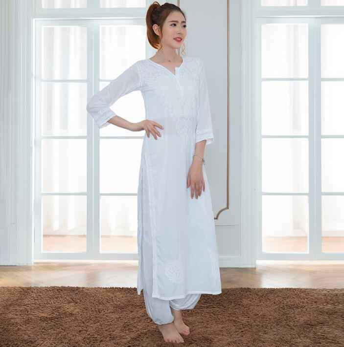 2019 India Traditional Woman Yoga Costume Cotton Hand-made Embroidery Zen Training Top Thin Kundalini White Top Ethnic Style