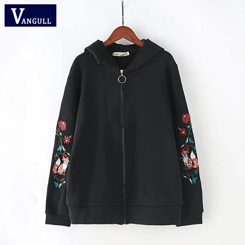 Vangull Fashion Women   Basic     Jacket   Autumn 2018 Cotton Embroidery Vintage Full Sleeve Coat Casual Hooded Streetwear Plus size 4XL