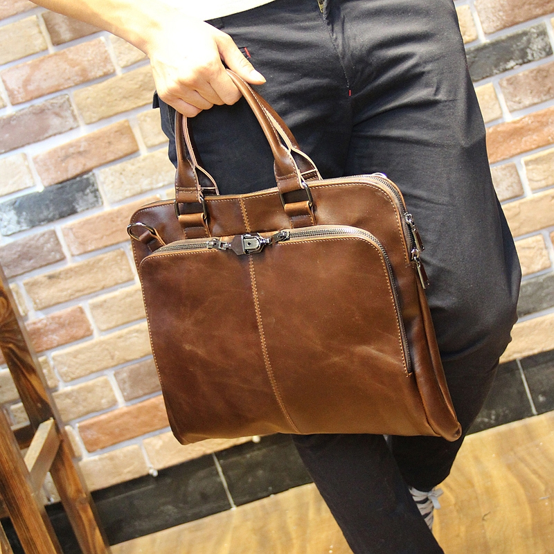 Tidog Crazy Horse PU new leather bag lock font b Handbag b font Shoulder Bag multifunctional