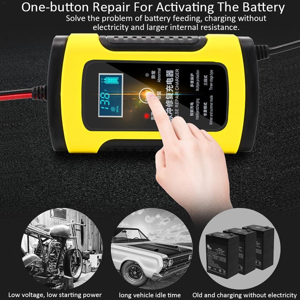 12 V 6A Motorrad Auto Batterie Ladegerät Voll Intelligente Reparatur Blei Säure Lagerung Ladegerät Moto Intelligente LCD Display