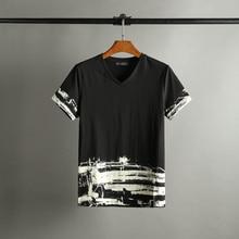 2107 new spring/Summer Fashion Week Runway inkjet color cotton men's fashion T-shirt shirt
