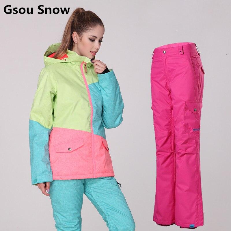 Prix pour Gsou Snow hiver combinaison de ski femmes de ski veste et pantalon tablas de snowboard ski vêtements veste ski jas dames esqui femme