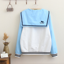 Sky blue white patchwork baseball students girls teens women jacket soft HARAJUKU preppy style sailor collar embroidery Anchors
