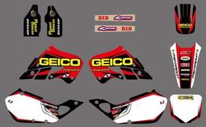 0514 NEW STYLE Red &White TEAM DECALS GRAPHICS & BACKGROUNDS Sticker For Honda CR125 CR250 1997 1998 1999 CR 125 250