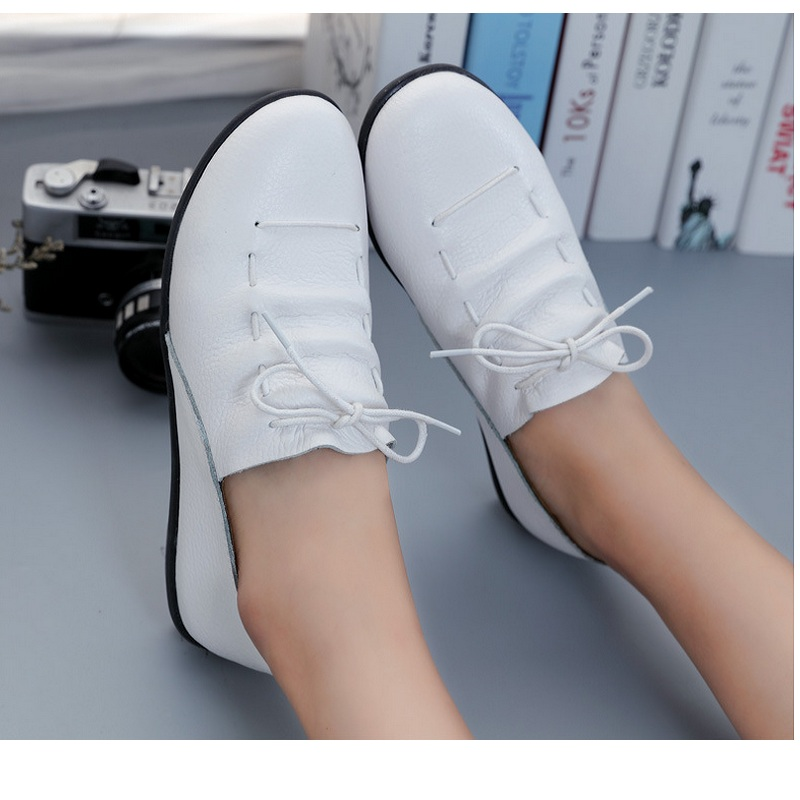 NEW women comfortable shoes genuine leathe casual office Flat Nurse Loafer  Flats flats work shoes shallow mouth heel mother shoe d16a44282