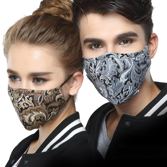 Korean Cotton Black Mouth Masks For Man With Filter Pollution Dust Cloth Mask Face Washable Reusable Mouth Cover