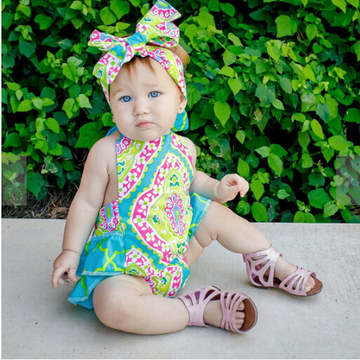 a839e70bbf25 floral print Baby Romper 2017 new summer style baby clothes