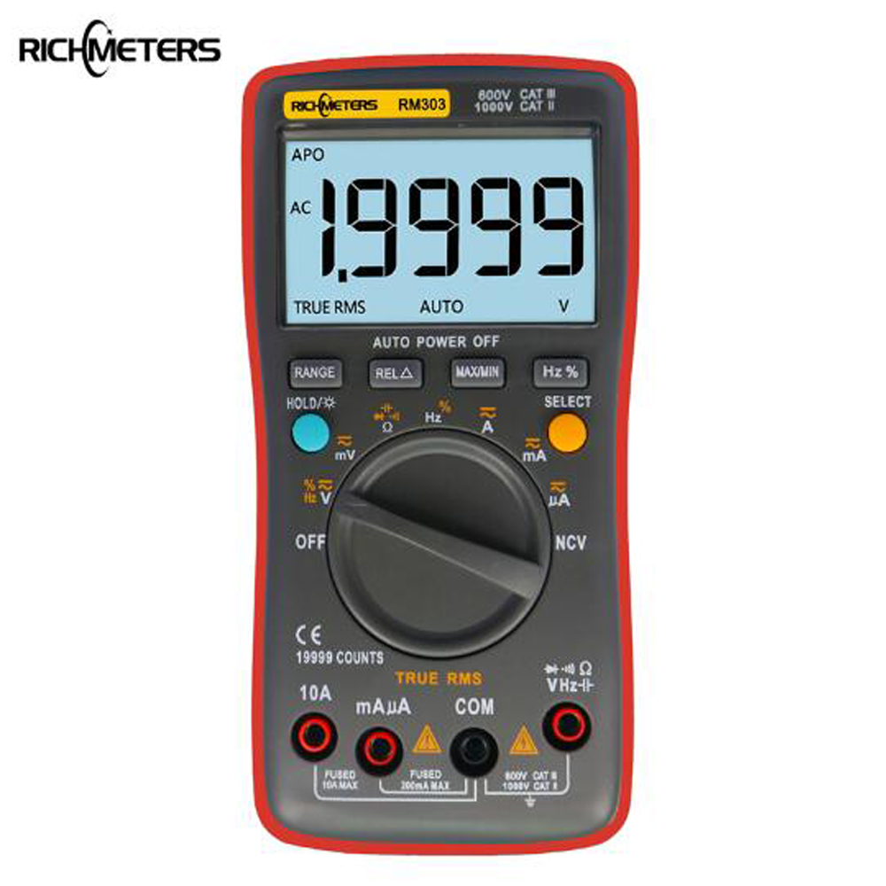 RM303 Digital Multimeter True-RMS 19999 Counts NCV Frequency 200M Resistance Auto Power Off AC DC Voltage Ammeter Current Ohm