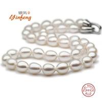 [MeiBaPJ] 9-10mm AAAA Perfettamente Riso a forma di Collana di Perle D'acqua Dolce di Alta Qualità Dell'argento Sterlina 925 Big Pearl Jewelry
