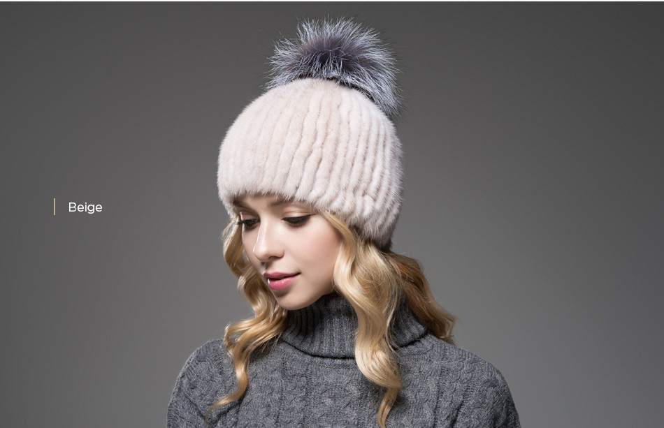 mink fur winter hats for women PCM010 (12)