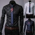 Бренд геометрический полоска мужские платье рубашки длинная - рукав приталенный Fit свободного покроя Camisas Masculinas 3 цвета M-XXXL