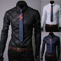 2014 New Brand Plus Size Fashion Geometric Strip Mens Dress Shirts Long-sleeve Slim Fit Casual Camisas Masculinas 3 Color M-XXXL