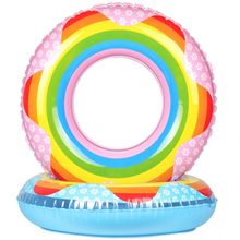 Rainbow Swimming Circle Inflatable Floats Pool Float for Adult Floats Swim Ring Suitable for Male Female Child Water Sports(China)
