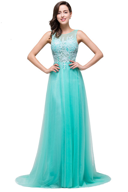 Online Shop Babyonline Mint Green Long Lace Evening Dresses 2017
