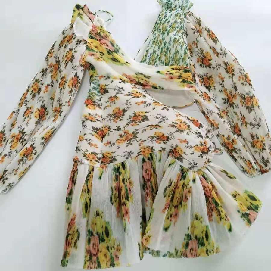 2018 осеннее новое платье с длинным рукавом, высококачественное лоскутное платье с дырками, стильное подиумное платье с цветочным принтом, сексуальное мини-платье с v-образным вырезом, Vestidos