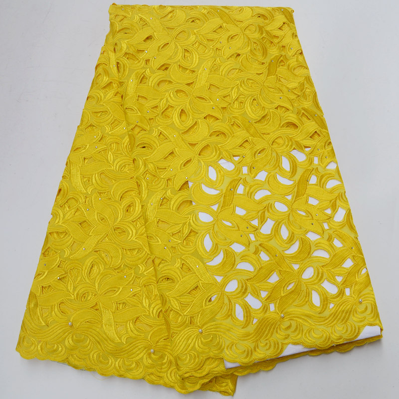 Yellow Swiss Voile Cotton Lace Fabric With Stone 2018 African Swiss voile lace in Switzerland High