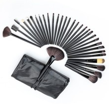 Professional 32 PCS Cosmetic Facial Make up Brush Kit Wool Makeup Brushes Tools Set with Black Leather Case Yo