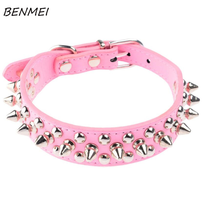 BENMEI Punk Dog Collar Pet Collars Rivet Pu Leather XS S M Spike Studded Adjustable Collar For Dog