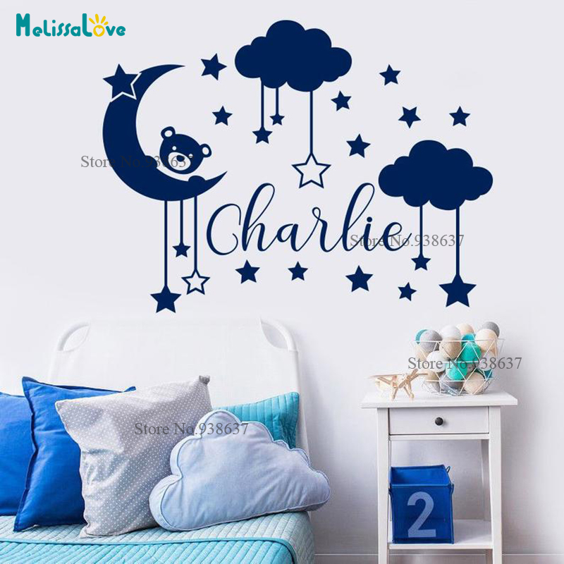 Moon Cloud And Star Custom Name Decal Little Bear Theme Sticker Baby Room Decor Removable Vinyl Wallpaper Waterproof BA068