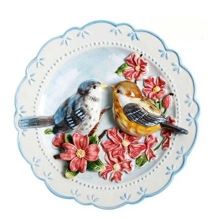 Oiseaux porcelaine assiettes décoratives pour suspendu en ...
