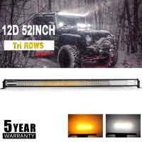 Со светом 52 12D светодио дный Offroad светлая полоса 783 Вт мерцающий светодио дный крючок двойной Цвет комбо луч для Jeep грузовик внедорожник Лодк