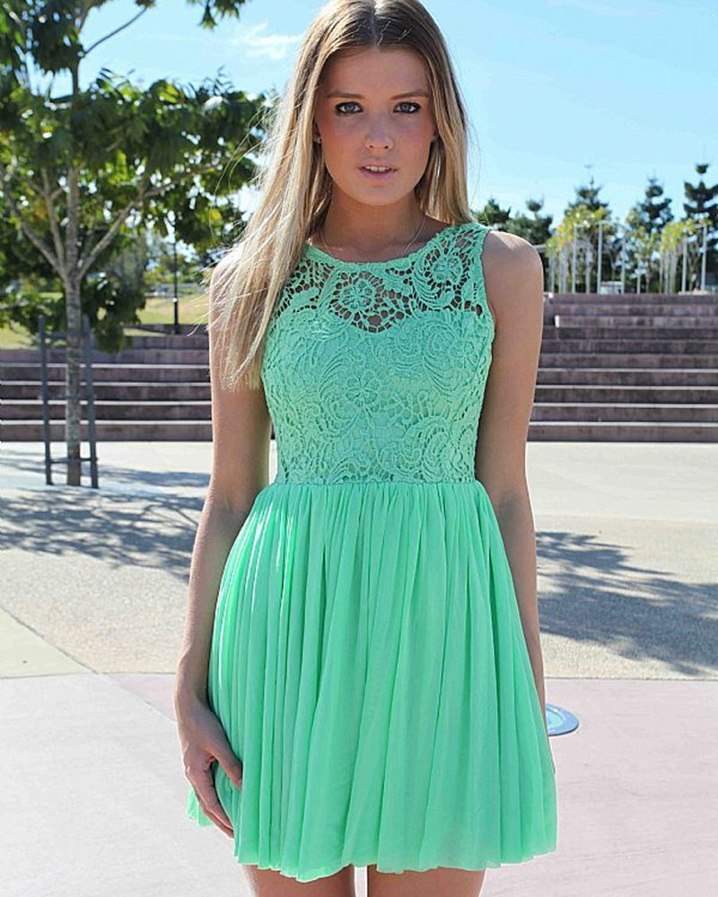 Lace Bridesmaid Short Prom Gown Vestido Madrinha Unique Sleeveless Wedding Party Dress