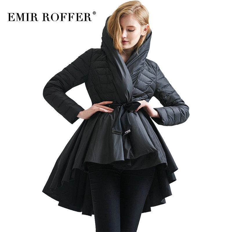 EMIR ROFFER 2018 Fashion Winter Female Womens Down Jacket Skirt Coat Asymmetric Long Hooded Ladies Duck Warm Snow Clothes
