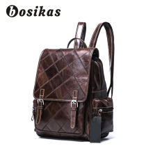 BOSIKAS Women Backpack Leather Laptop Backpack Genuine Leather Wome's Bag Fashion Checker Backpacks for Teen Travel School Bag