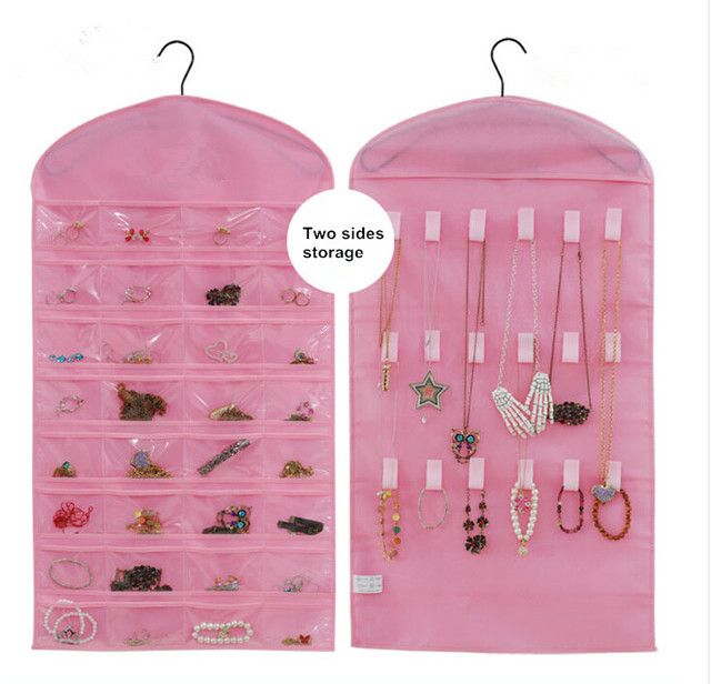 Hot Hanging Pink Dress Jewelry Bag Pouches Holder Fabric Jewelry