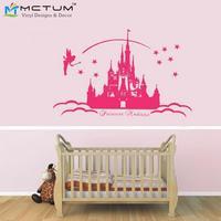 2016 Nuevo Tema de Dibujos Animados Fairy Princess Nombre Personalizado Etiquetas de La Pared Pegatinas de Pared Para Las Niñas Dormitorio Decoración Size100 * 58 cm