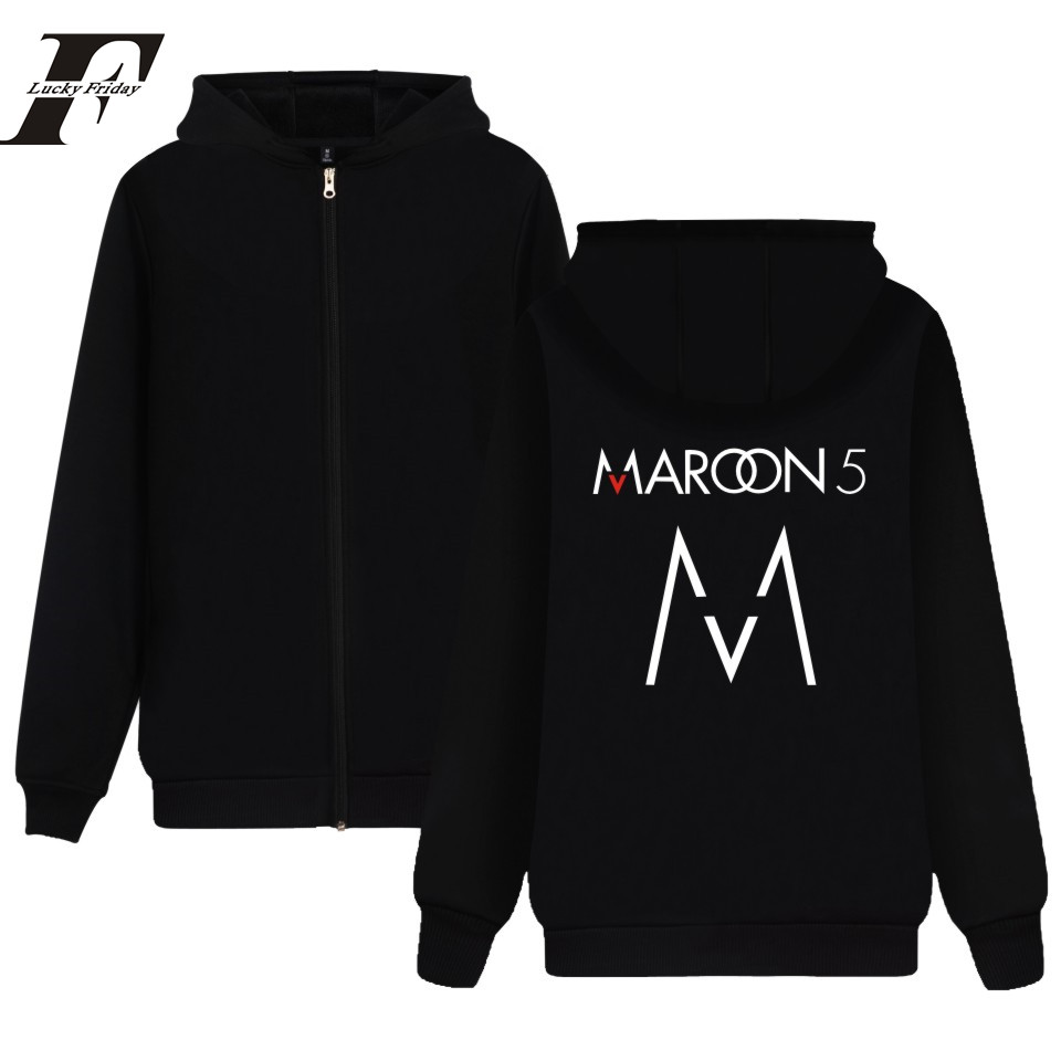 2017 Autumn Maroon 5 Zipper Men Hoodies Women Winter HipHop Rock Music Band Casual Sweatshirts Fleece Clothing Moletom Black 4xl