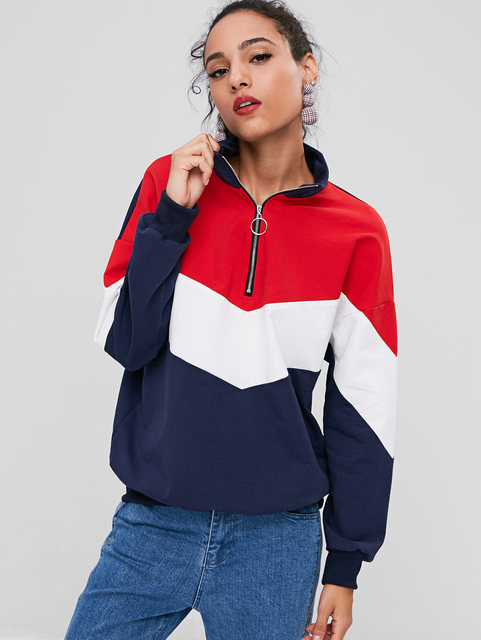 a9b0c27b Wipalo Contrasting Half Zip Sweatshirt Women Winter Autumn High Neck Drop  Shoulder Color Block Casual Loose