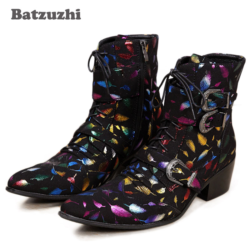 Batzuzhi Western Rock Fashion Men Boots Mid-Calf Motocycle Boots Men Stylist Pointed Iron Toe Black Suede Leather Boots Men, 46 fashionable foot style gold plated crystal inlaid necklace golden