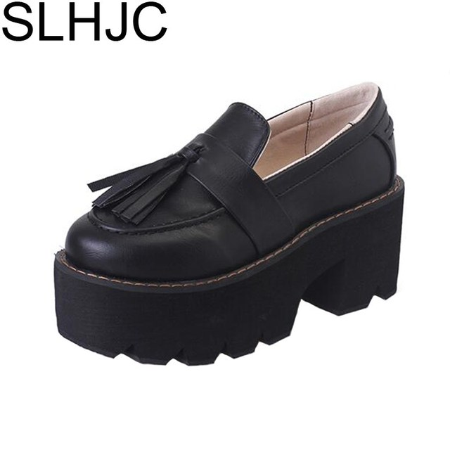 SLHJC 2017 Autumn Platform Shoes Female Lacing Round Toe Wide Heel Leather Pumps Women's British Style High Heel Shoes