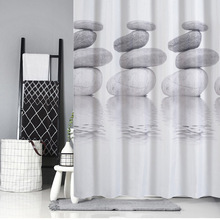 Pebble Print Vandtæt Shower Curtain Thicken Coating Process Bath Produkter Praktisk Meldug Sanitær Partition Bath Gardiner
