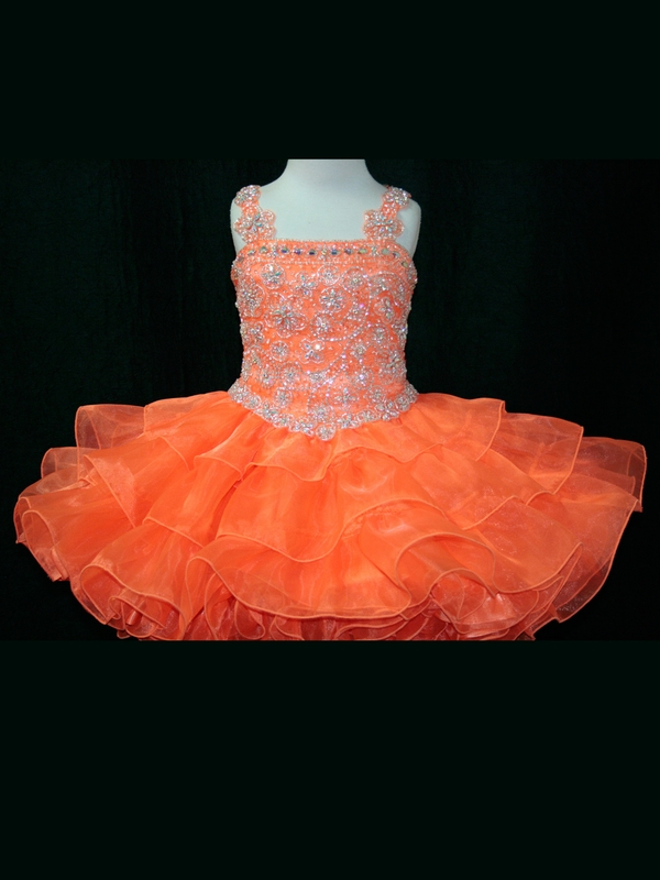 Tank Style Little Rosie Toddler Ball Gown Flower Girl Dresses With Spaghetti Strap Beaded Organza Short Pageant Dresses Zipper in Flower Girl Dresses from Weddings Events