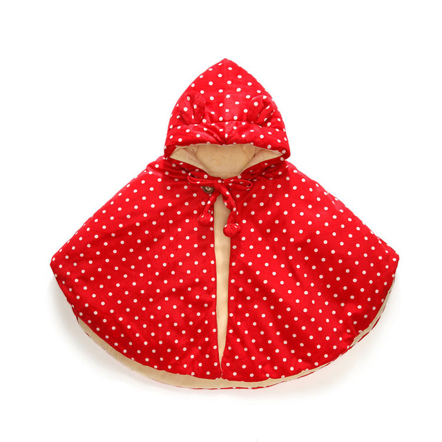 good Quality Baby Cotton polka dot Cloak Baby Winter Cloak Infant Baby Outwear Newborn Baby Shawls Jacket Cloak