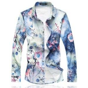 Image 1 - 2020 New Mens Shirts Long Sleeve Loose Turn Down Collar Casual Shirt Men Hot Sale Plus Size Autumn Mens Floral Shirts 7XL 6XL M