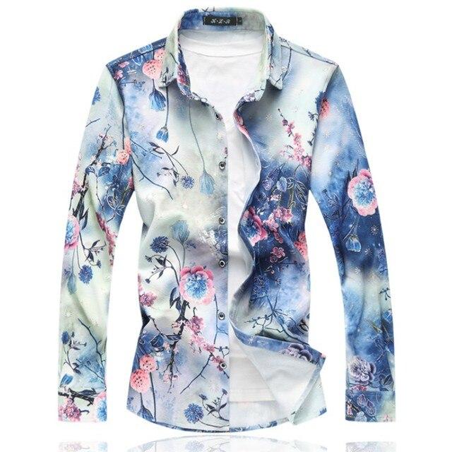 2020 New Mens Shirts Long Sleeve Loose Turn Down Collar Casual Shirt Men Hot Sale Plus Size Autumn Mens Floral Shirts 7XL 6XL M
