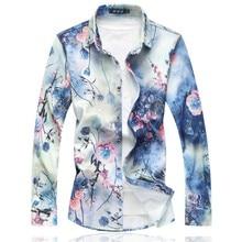 2020 nuevas camisas de manga larga para hombre, camisa informal suelta con cuello vuelto, gran oferta de talla grande, camisas florales de otoño para hombre, 7XL 6XL M