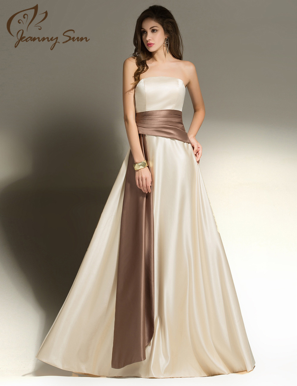 Online shop champagne long bridesmaid dresses satin scallop a line online shop champagne long bridesmaid dresses satin scallop a line floor length party dress with brown sash real images 100 js550 aliexpress mobile ombrellifo Gallery