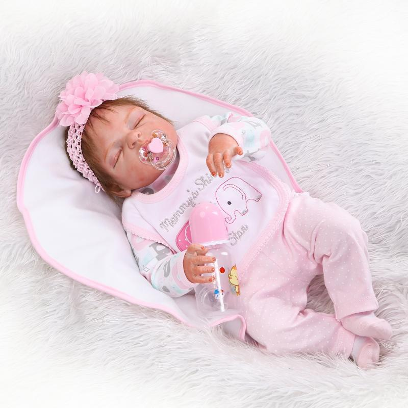NPK Silicone Bebe Reborn Sleeping Girl Dolls 22 Inch / 56cm Realistic Baby boneca shower Doll Early education Children