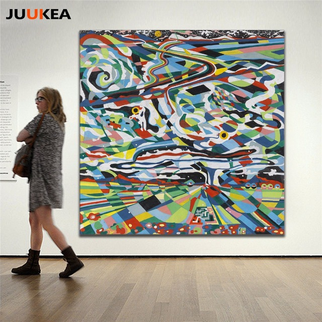Modernen Europäischen Stil Abstrakte Kunst Linien Farbe Klumpen  Leinwanddruck Malerei Poster, Wandbild Für Wohnzimmer,